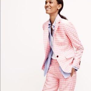 J Crew Pink White Gingham Linen Jacket Blazer